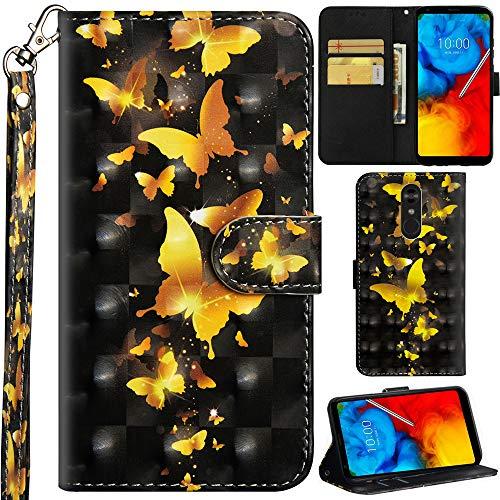 Ooboom LG Stylus 4/LG Stylo 4/LG Q Stylus Hülle 3D Flip PU Leder Schutzhülle Handy Tasche Hülle Cover Ständer mit Kartenfach Trageschlaufe für LG Stylus 4/LG Stylo 4/LG Q Stylus - Gold Schmetterling
