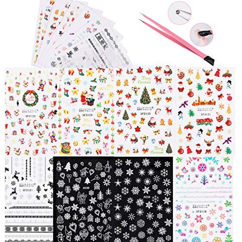 Sipliv 8 fogli adesivi per unghie natalizi e una pinzetta con stick in silicone, adesivi autoadesivi pupazzo di neve alce natale nail art sticker manicure decorazione