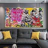 Graffiti Art lienzo pintura amor es todo lo que necesitamos carteles e impresiones cuadro artístico de pared para sala de estar decoración del hogar Cuadros 60x120 CM (sin marco)