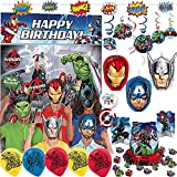 Ultimate Avengers Birthday Party Decorations Pack With Superhero Streamer, Scene Setter With Photo Props, Swirls, Honeycomb, Table Decorating Kit, and Exclusive Pin