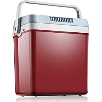 Mini Fridge 27.5 Quart/33 Cans Electric Cooler and Warmer for Car and Home, Dual 12V DC & 110V AC Portable Car Refrigerator with Automatic Locking Handle, Include Eco & Max Mode