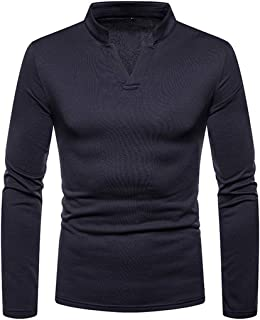Zytyeu Men Pullovers V-Neck Long-Sleeve Slim Fit Sweatshirt Spring and Autumn Warm Solid Color Pullovers Casual Comfortabl...