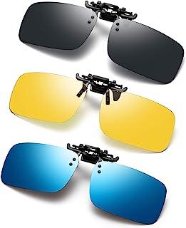 Polarized Clip on Sunglasses 3 PACK Anti-Glare UV Protection Flip-up Sunglasses Over Prescription Glasses