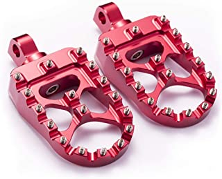 Hopider CNC Wide Foot Pegs 360° Roating MX Chopper Bobber Style for harley Dyna Sportster Fatboy Iron 883,Red