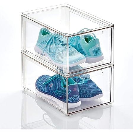 mDesign boite de rangement plastique avec tiroir – bac de rangement plastique bas pour les chaussures – boite empilable pour accessoires, etc. – lot de 2 – transparent