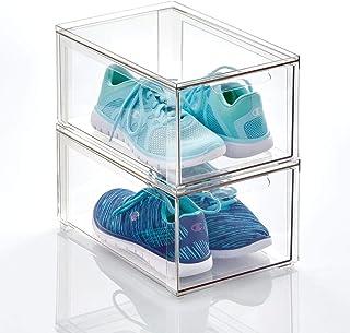 mDesign boite de rangement plastique avec tiroir – bac de rangement plastique bas pour les chaussures – boite empilable po...