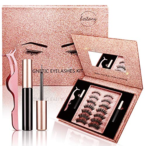 7 Pairs Reusable Magnetic Eyelashes with Eyeliner 2 Tubes of Magnetic Eyeliner Kit, 5D Magnetic Eyelashes Kit With Tweezers Inside, Magnetic Eyelashes Natural Look With Mirror (Rose Gold - 07 Pairs)