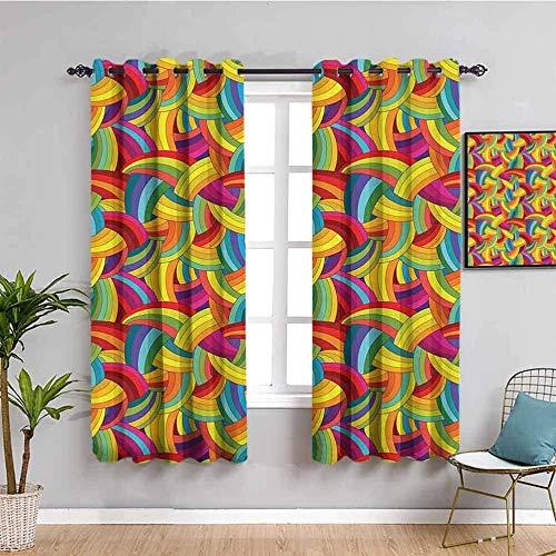 Nileco Cortinas Opacas Termicas - Color arco iris arte moda - 183x160 cm - Cortinas del Dormitorio de la Habitación de los Niños - 3D Impresión Digital con Ojales Aislamiento Térmico