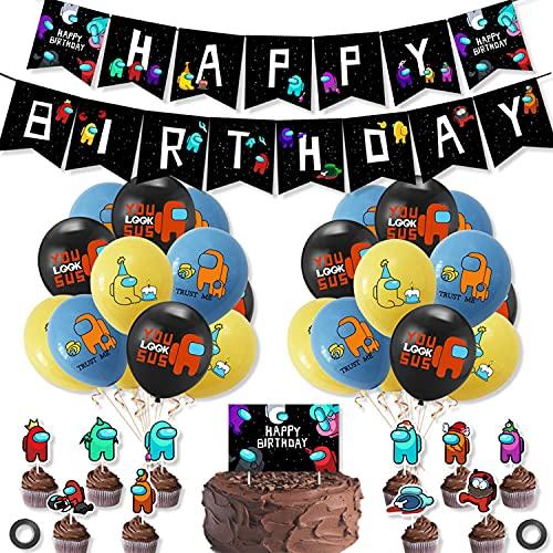38 piezas AmoungUs globos Globo de Temática Juegos de Matanza de Hombre Lobo Espacial Decoración de la Fiesta de Banner de Feliz Cumpleaños Adorno de torta Suministros de Fiesta para Niños