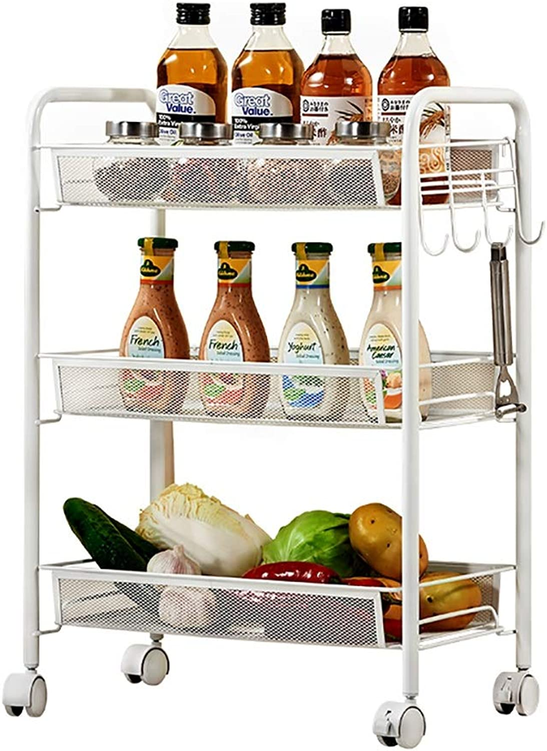 Multi-Functional Storage Cart Kitchen Floor with Wheel Rack Movable Cart Vegetable Dish Rack (color   White(Three Layers))