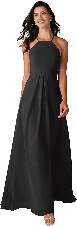 ALICEPUB Halter Black Bridesmaid Dresses Chiffon Long Formal Party Dress for Women with Keyhole Back, US8