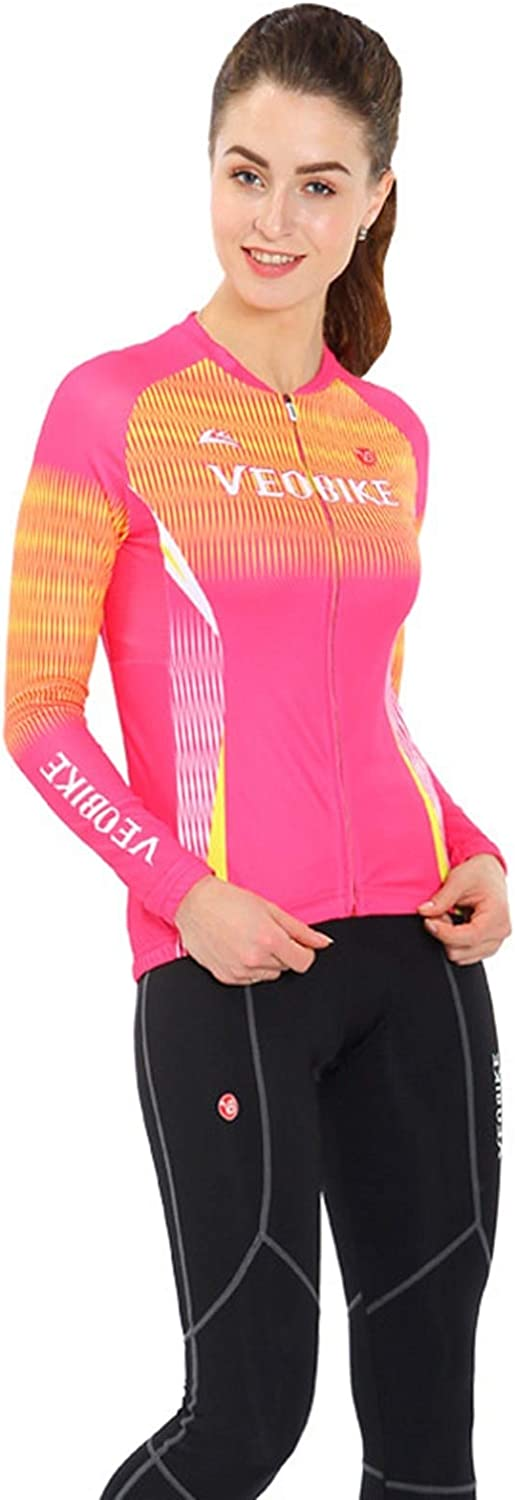Epinki Women Spring Fall Cycling Jersey for Outdoor and Multi Sports Cycling Clothing Set