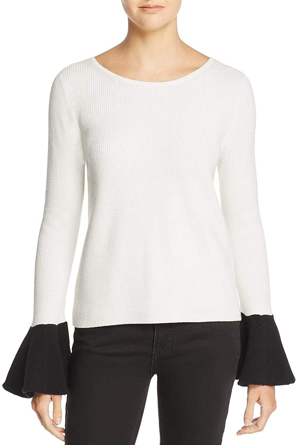 Ramy Brook Womens Lara Bell Sleeve Scoop Neck Sweater
