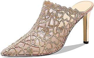Sandals Heeled Slipper for Women Stilettos Slide Sandals Mules 8.5cm/3.34 Heel Rhinestone Mesh Microfiber Leather LIULICUICAN (Color : Red, Size : 35 EU)