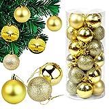 DECARETA 24 Piezas Bolas de Navidad 6 Cm Bolas de Navidad Bolas Decorativas Doradas ecoración de Bolas de Navidad Inastillable Plástico, Regalos de Colgantes de Navidad (Doradas)