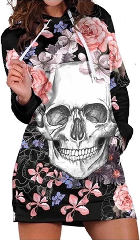 Womens Hoodies Casual Long Sleeve Hooded Pockets Pullover Sweatshirt Dress Skull Floral Print Shirt Dresses