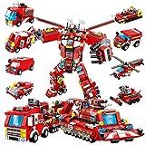 PANLOS STEMロボットビルディングトイ エンジニアリングビルディングブリック 消防救助エンジン車両キット 6歳以上の子供向けビルディングブロック タイトフィット すべての主要ブランドに対応 836ピース