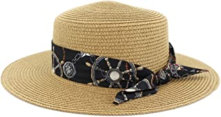 LiJuan Shen Ladies Summer Travel Wild Pure Color Sun Hat Fashion Ribbon Top Woman Straw Hat