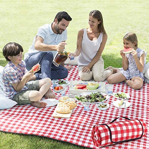ZAZE Picnic Blanket Extra Large Waterproof 80 x80 Checkered Picnic Blankets Beach Outdoor Camping product image