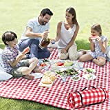 ZAZE Picnic Blanket Extra Large Waterproof, 80''x80''Checkered Picnic Blankets Beach, Outdoor, Camping on Grass (Red and White)