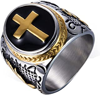 JAJAFOOK Jewelry Black & Gold Stainless Steel Christian Holy Cross Ring for Men's Rings(15)