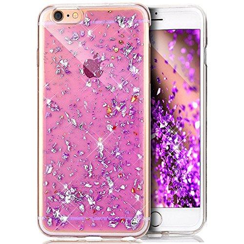Coque iPhone 5S,Coque iPhone SE,Coque iPhone 5,Shiny Sparkly Bling Glitter Paillettes brillant cristal [feuille d'or] Transparente Silicone Gel TPU Souple Housse Etui Coque pour iPhone SE/5S/5,Violet