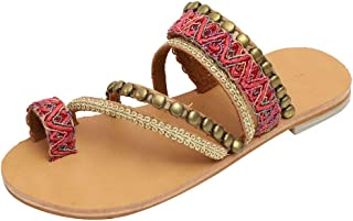 Ladies Flat Sandals Rhinestone Floral Bohemian Ethnic Style Strap Beach Slipper Sandals