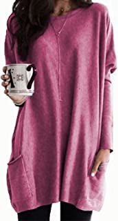 Casual Tops Womens Casual Long Sleeve Pullover Round Neck T Shirts Blouses Sweatshirts Tops with Pockets Tee (Color : Purp...