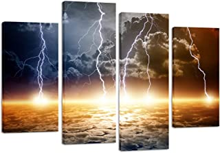 Kreative Arts Natural Landscape Paintings Wall Art Lightning Strikes in The Clouds 4 Panel Picture Print on Canvas Giclee Artwork for Home Office Decoration