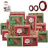 Scatole Regalo Di Natale Con Finestra,Scatole Per Dolci Con Finestra,Scatole Per Biscotti Cartone,Confezione Di Biscotti Scatola Di Natale,Scatole Di Biscotti Di Natale
