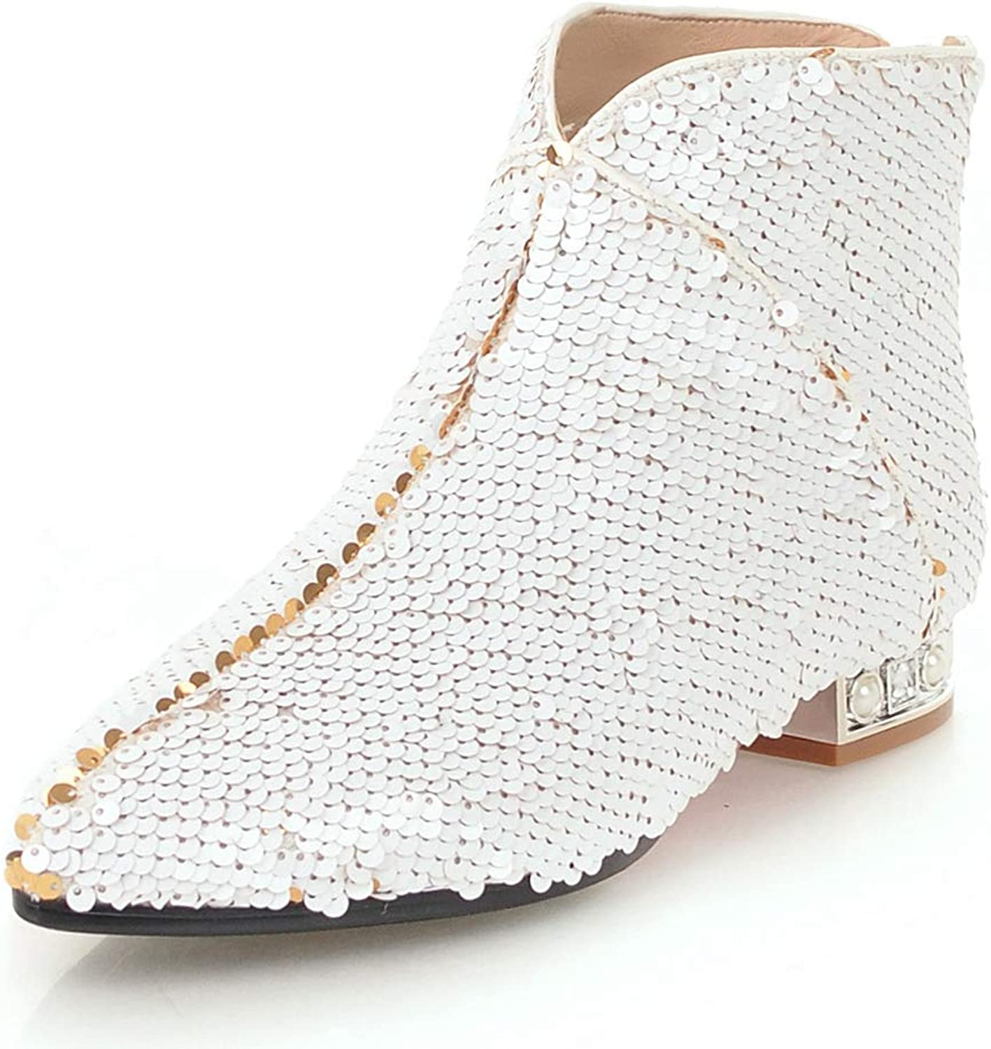 Women Winter Ankle Boots Fashion Cool Pointed Toe Low Heels Sequined Cover shoes