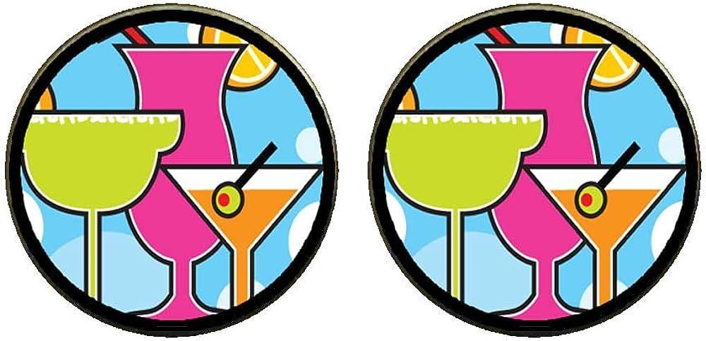 GiftJewelryShop Bronze Retro Style Cartoon Theme Photo Clip On Earrings 14mm Diameter Cocktail Summer