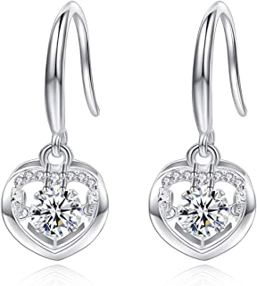 Heart Dangle Earrings Swarovski Diamond Dancing Earrings for Women Sterling Silver Hypoallergenic for Sensitive Ear Cubic Zirconia Drop 18K White Gold Plated Fashion Jewelry Gift Blue White