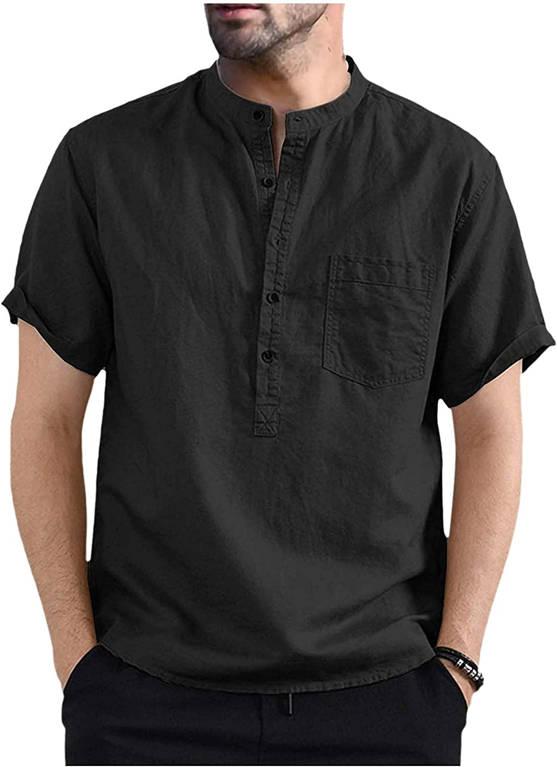 FUNEY Mens Fashion Short Sleeve T-Shirts Casual Front Placket Basic Solid Color Button-up V Neck Henley Shirt with Pockets