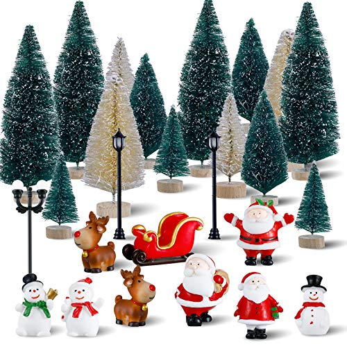 32 Pieces Christmas Miniature Ornament Crafts Kits Mini Christmas Tree Bottle Brush Tree Christmas Miniature Snow Figurine Ornaments Miniature Street Lamp for Christmas Winter Decoration