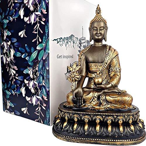 25DOL 8' Tibetan Medicine Buddha Statue Bhaisajyaguru, Golden Buddha Statue, Collectibles and Figurines, Meditation Decor, Spiritual Living Room Decor, Yoga Zen Decor, Hindu and East Asian Décor