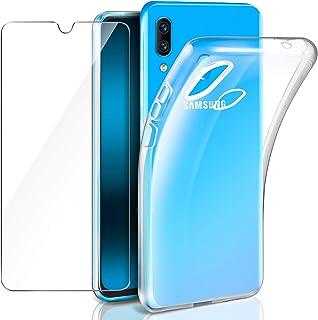 5ad24ea1e70 Leathlux Samsung Galaxy A40 Funda + Cristal Protector de Pantalla,  Transparente TPU Silicona [Funda