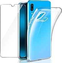 """Leathlux Cover Samsung Galaxy A40 Custodia Trasparente + Pellicola Vetro Temperato Samsung A40, Morbido Silicone Custodie Protettivo TPU Gel Sottile Cover per Samsung Galaxy A40 5.9"""""""