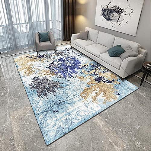 Alfombras Alfombra salón Lisa Alfombra de Sala de Estar de patrón de Hoja de Graffiti de Arte Abstracto Gris Amarillo Azul Decorar habitacion alfombras 200*350cm