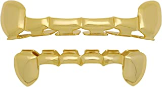 The Bling Factory 24k Gold Plated Half Teeth Removable Top & Bottom Teeth Grillz Set