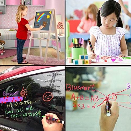 Chalk markers, Blusmart 8pcs Liquid Chalk Pens 3mm Reversible tips 40 Chalkboard Labels Perfect for Chalkboards, Windows, Glass,Whiteboard Photo #8