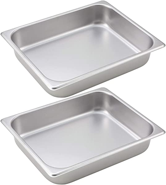 Tiger Chef Half Size Stainless Steel Steam Table Water Pan Food Pan For Food Warmer Buffet Server For Parties Restaurants Catering Supplies 2 Half Size Pans