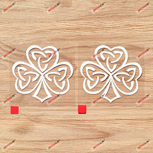 Irish Ireland Shamrock Celtic Knot Vinyl Decal Sticker - 2 Pack White, 3 Inches - No Background for Car Boat Laptop Cup 06080