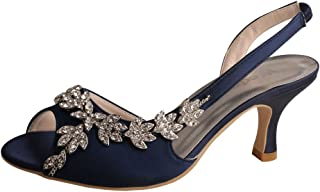 MW13105 Women's Peep Toe Slingback Mid Heel Sandals Rhinestones Satin Evening Prom Wedding Shoes