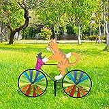 harupink Windrad Hund Katze, Windmühle Gartenstecker in Tierischem Design, Gartendeko für Kinder, Garten, Balkon und Terrasse 90 cm x 50 cm (Gelbe Katze)