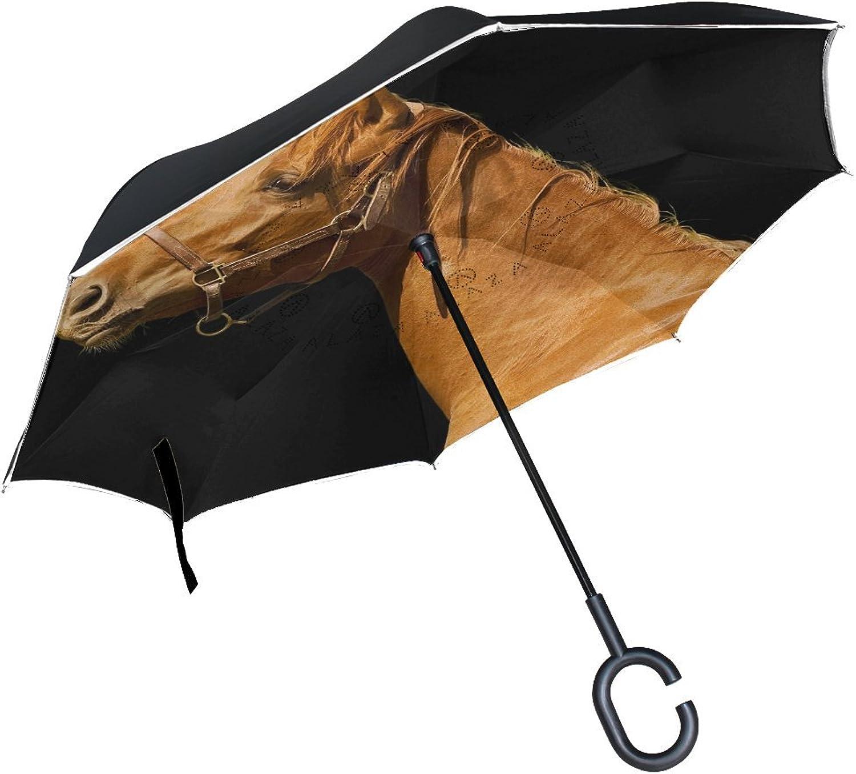 Animal Horse Blackandwhite Ingreened Umbrella Large Double Layer Outdoor Rain Sun Car Reversible Umbrella
