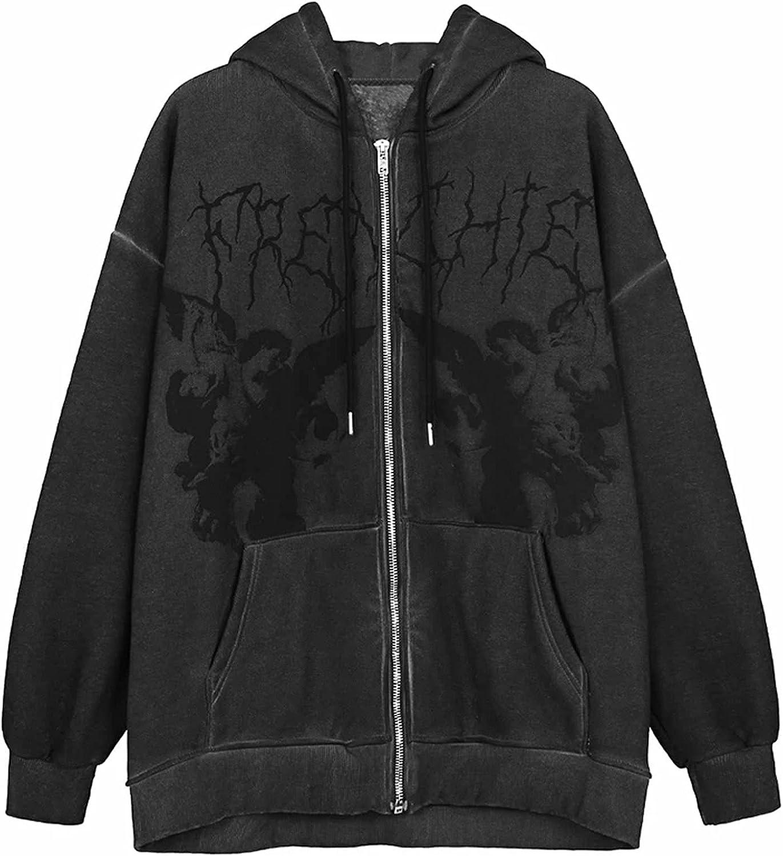 Women Zip Up Hoodie Jacket Long Sleeve Harajuku Pattern Face Portrait Pullover E-Girls Vintage Aesthetic Y2k Sweatshirt