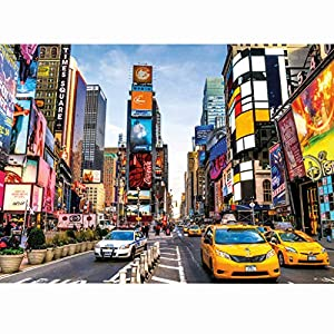 Jigsaw Puzzles for Adults 1000 Piece Large Puzzle, New York Broadway, Educational Intellectual Decompressing Fun Game, Landscape New York Streets Jigsaw Puzzle Game Toys Gift, Fun Indoor Activity (A)