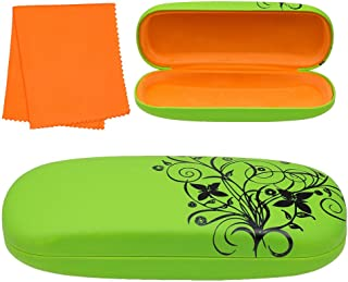 Hard Eyeglass Case, Floral Designed Protective Clamshell Holder for Glasses and Sunglasses