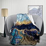 JIMICOW Blue Gold Marble Fleece Blanket Soft Plush Flannel Throws Blankets for Couch Bed Sofa 50X40 Inch - All Season Lightweight, Warm, Cozy